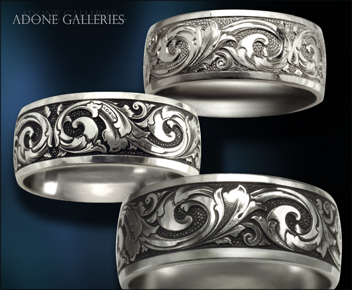 Engraving On Mens Wedding Rings Adone Galleries Platinum Wedding Band Hand Engraved Victorian
